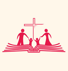 Christian family and the bible vector