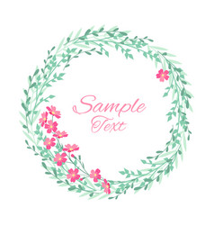 wreath with grass and flowers vector image