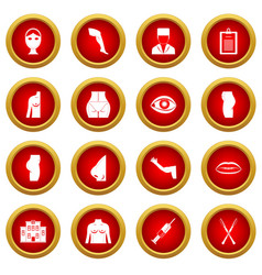 Plastic surgeon icon red circle set vector