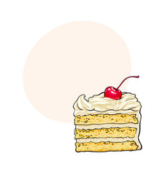 Piece of layered cake with vanilla cream and vector