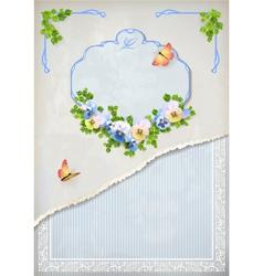 Shabby chic vintage wedding floral invitation vector