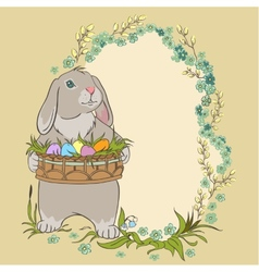 Easter bunny holding a basket with eggs retro vector