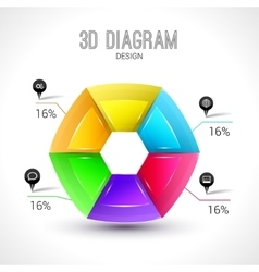 3d diagram infographic colorful and trendy shape vector