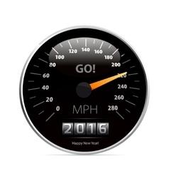 Calendar 2016 in speedometer car vector image