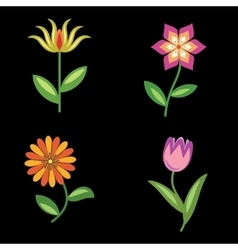 Flower icons set chamomile tulip orchid floral vector