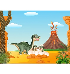 Cartoon smile mom tyrannosaurus dinosaur and baby vector