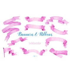 Watercolor ribbons and banners vector