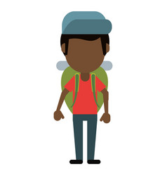 Afro american man backpack and cap vector