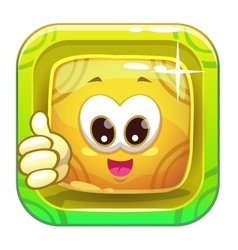 App icon with funny cute yellow character vector