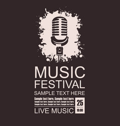banner for music festival with a microphone vector image