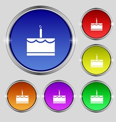 Birthday cake icon sign round symbol on bright vector