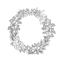 Black and white floral wreath vector
