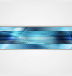 Blue glossy stripes abstract tech banner vector