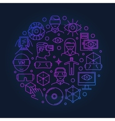 Bright VR round symbol vector image