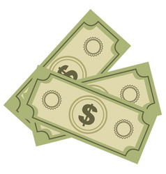 color silhouette with dollars bills vector image vector image