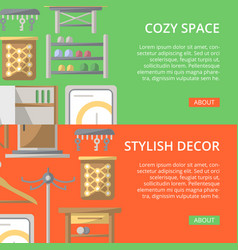 Cozy corridor space poster set in flat style vector