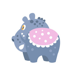 Cute cartoon hippo character back view vector