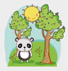 Cute panda on forest vector
