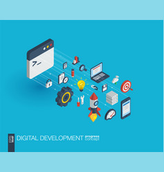 development integrated 3d web icons growth and vector image