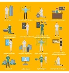 Future professions set Futuristic occupation vector image vector image