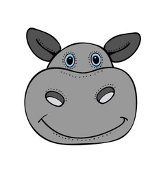 Hippo cute funny cartoon head vector