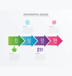 infographics arrow number 4 step template vector image vector image