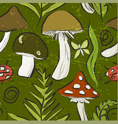 ink hand drawn seamless pattern with mushrooms vector image
