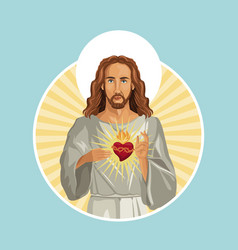 Jesus christ sacred heart stamp vector