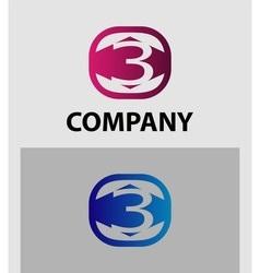 Number 3 logo logotype design vector