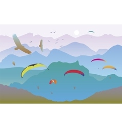 Paragliders and birds vector