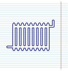Radiator sign navy line icon on notebook vector