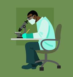 scientist looking through microscope vector image vector image