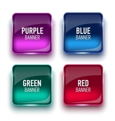 Set of glass purple red green and blue banners vector image