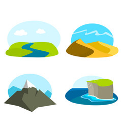 set of landscape icons vector image vector image
