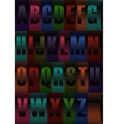 Striped artistic font vector