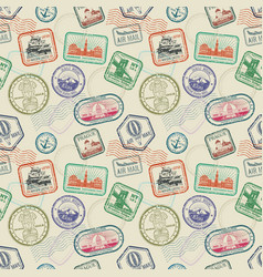 vintage passport travel stamps seamless vector image