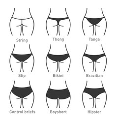 Woman underwear panties types vector