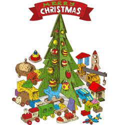 wooden christmas tree with toys vector image vector image
