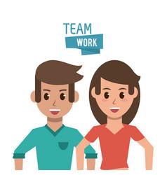 Young teamwork cartoon vector