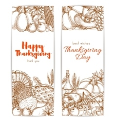 Thanksgiving day sketched retro greeting banners vector