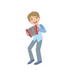 Boy in blue vest playing accordion vector