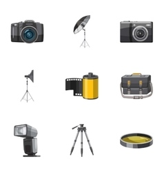 Photography icons set cartoon style vector