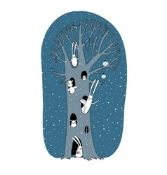Magic Tree rabbits owl dog and mouse Winter vector image