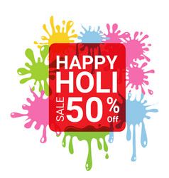 Happy holi sale 50 percent off for discount vector