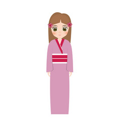 Girl japanese doll traditional dress vector