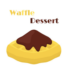 Belgian waffle with chocolate tasty breakfast vector
