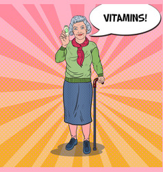 Pop art senior woman with vitamins health care vector