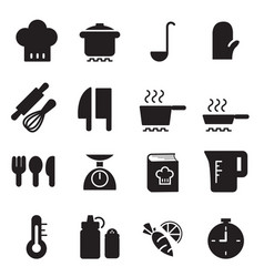 Silhouette cooking icons set vector