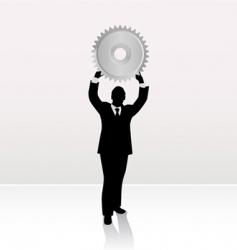 businessman lifting wheel vector image