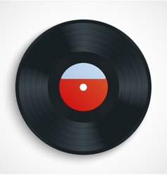 Black vinyl record disc with blank label in red vector